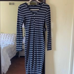 New casual striped sweater dress with hoodie